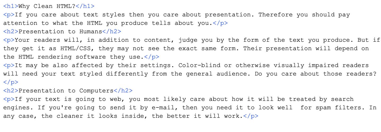 Clean semantic HTML